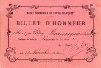 Billet d honneur novembre 1930