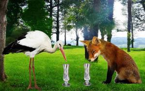 Renard et cigogne