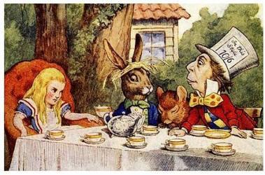 Alice à table pour le thé