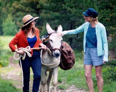 Antoinette, l'âne Patrick et Eléonore