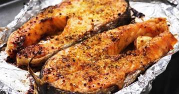 Darnes de saumon gillees