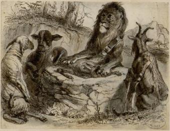 La génisse la chèvre et la brebis en sociéte avec le lion